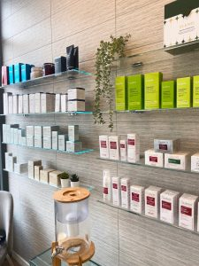 Shop display of Elemis products on sale at the Hiar and Beauty Rooms in Chislehurst
